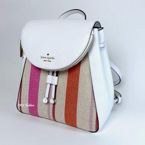 Kate Spade Leila Flap Backpack Stripe Canvas Bag